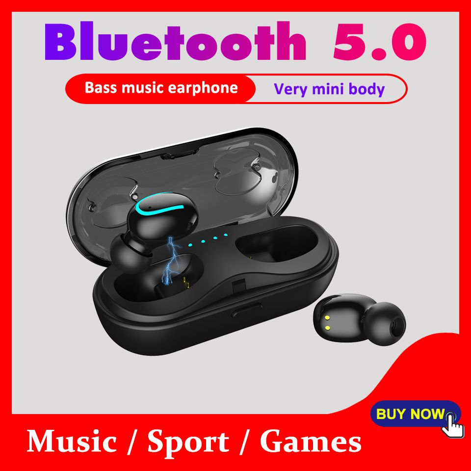 5.0 Bluetooth Earphone Mini Bluetooth Headphone for 6 Hours Continuously Working Wireless Earbuds Bass Automatically Pairing