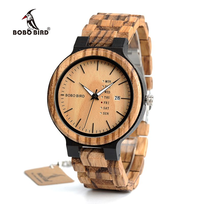BOBO BIRD Wood Watch Men relogio masculino Week and Date Display Timepieces Lightweight Handmade Casual Wooden Watch V-O26