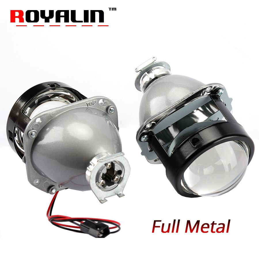ROYALIN Car Styling Halogen Lens Full Metal H1 Mini HID Bi Xenon Headlight Projector Lens 2.5 H4 H7 Auto Mini Gatling Gun Masks