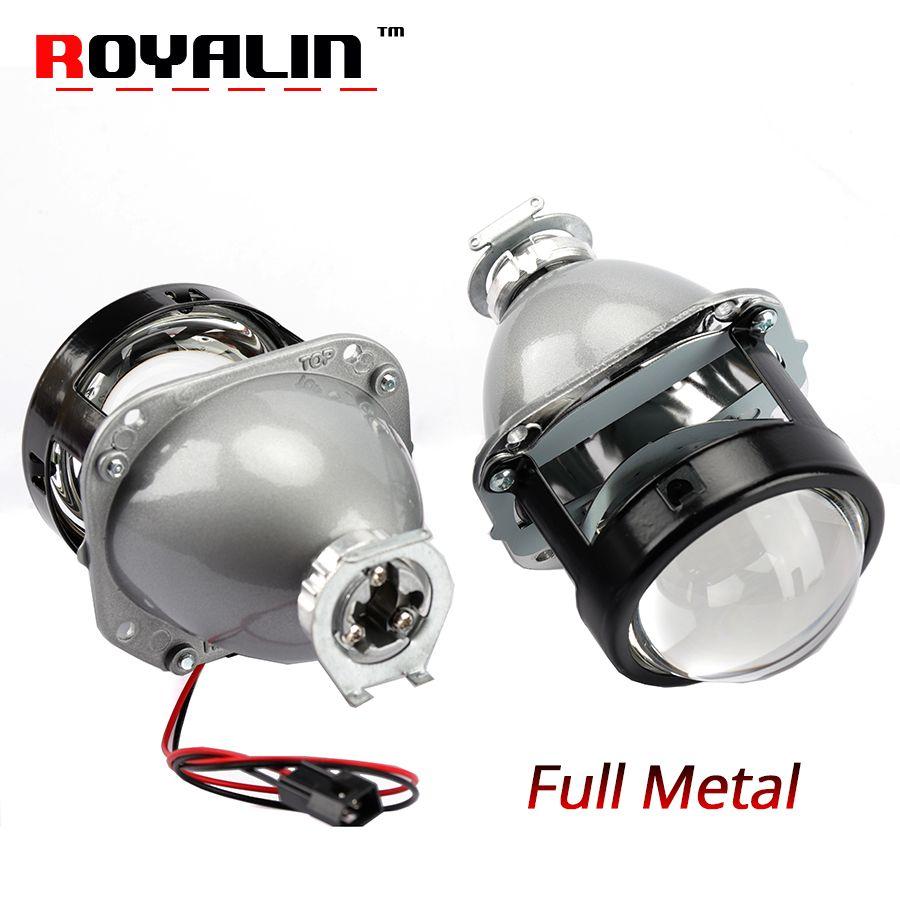 ROYALIN Car Styling Halogen Lens Full Metal H1 Mini HID Bi Xenon Headlight Projector Lens 2.5 H4 H7 Auto Mini Gatling Gun Masks