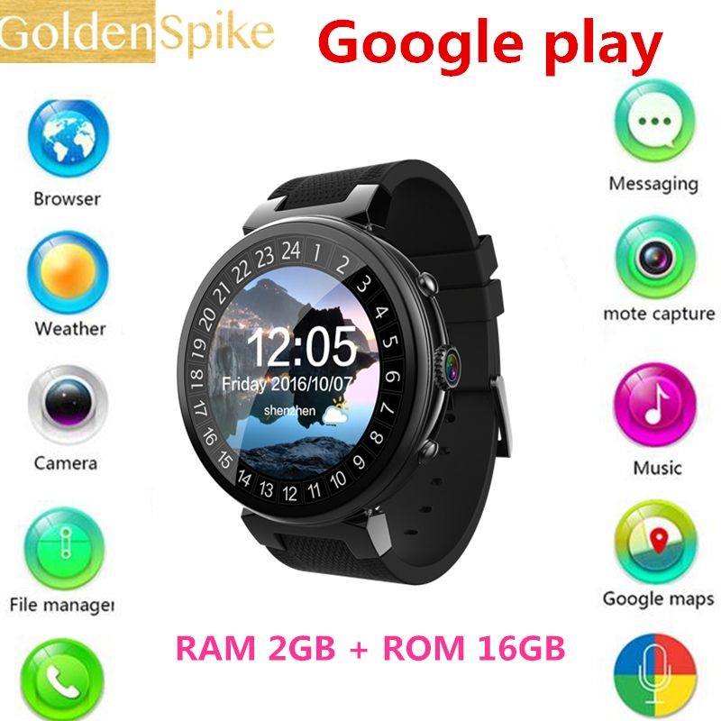 2017 I6 SmartWatch Android 5.1 OS MTK6580 Quad Core 1.3GHz 2GB 16GB Smart watch Support Google Play Store Map 3G GPS Wifi