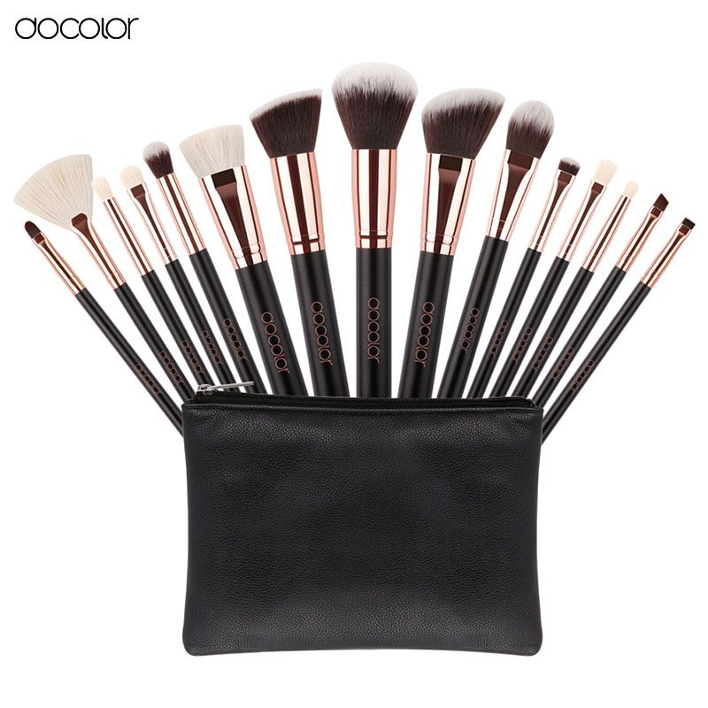 Docolor 15pcs High Quality Synthetic Hair and Goat Hair Make Up Brushes Kits With Bag Face Lip Foundation Eye Shadow Blush Brush