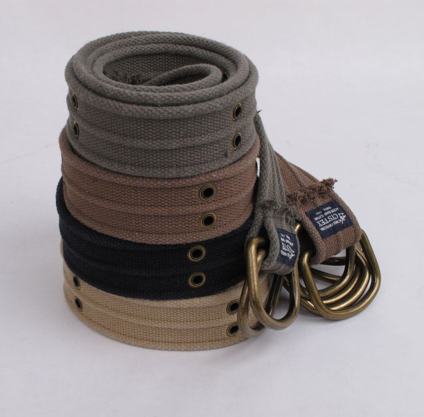 Wow! Marque d-ring toile ceintures hommes haute qualité mode ceinture décontracté Double Air Eye ceintures 100% coton lavé doux