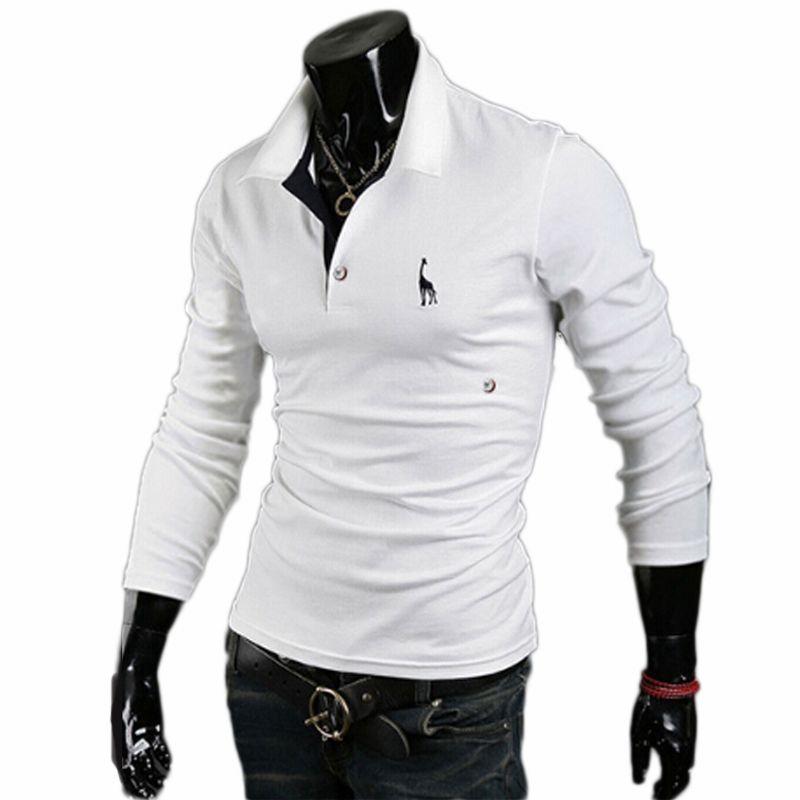 2017 Brand Men Golf Shirt Men's White Shirt Male Long Sleeve Deer Embroidery Shirt Spring Autumn Sport Tops Plus Size 3XL 908720