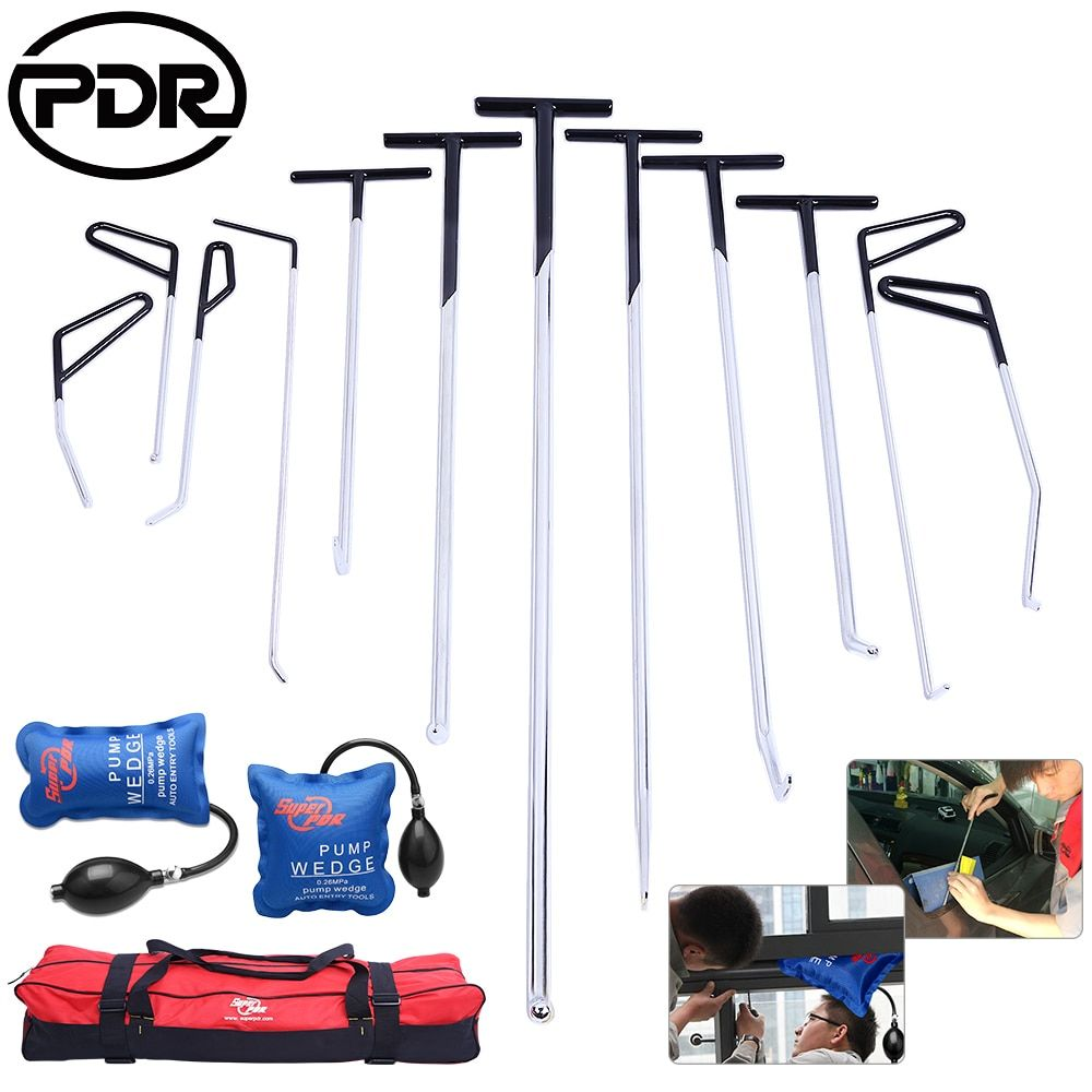 PDR Tools Push Rods Hooks Car Crowbar Dent Removal Paintless Dent Repair Tools Set PDR Kit Ferramentas+ Tool Bag