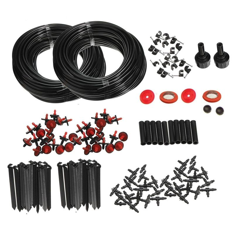 46m Micro Drip Irrigation Self Watering Automatic System Kit Set Drippers For Plant Garden Greenhouse