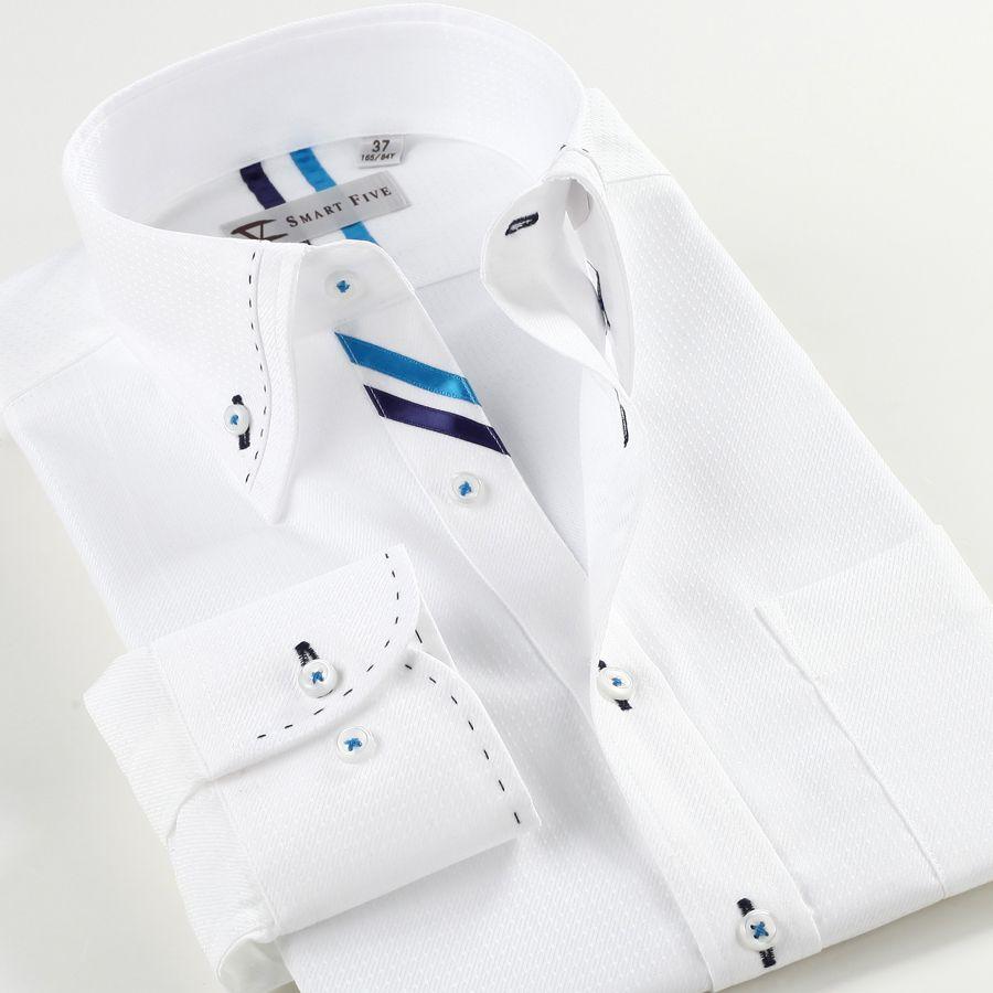 Smartfive Blanc Hommes Chemise 2016 Nouvelle Marque de Vêtements À Manches Longues Coton Camisa Masculina Blanc Slim Fit Chemise Hommes SFL4K07B