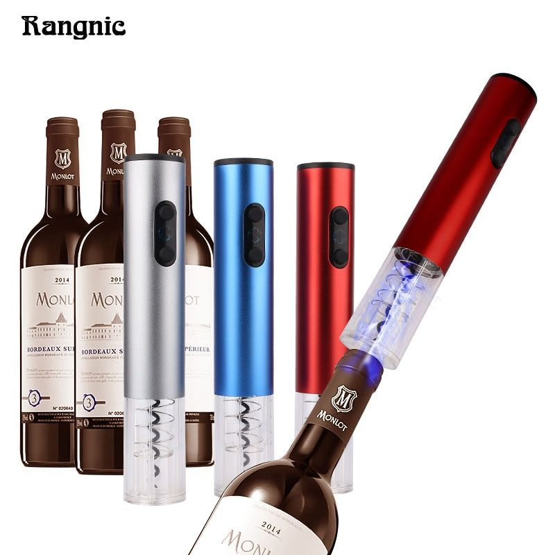Hot Wine Bottle Opener Pro Electric Corkscrew Screwpull Red Wine LED light With Foil Cutter Stainless Steel Vacuum Stopper Gifts