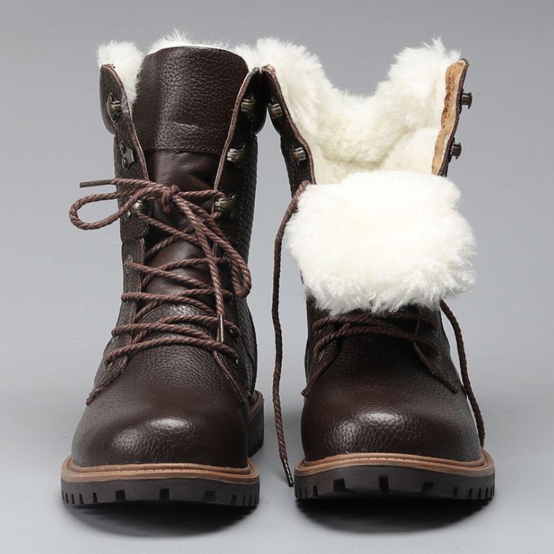 Натуральная шерсть Мужская зимняя обувь Теплые Настоящая кожа ручной работы Мужские зимние сапоги # YM1568