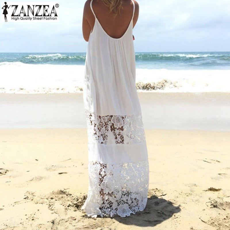 Sans manches 2019 ZANZEA été femmes dentelle Patchwork Vestido décontracté lâche longue robe Sexy bretelles maillots de bain grande taille