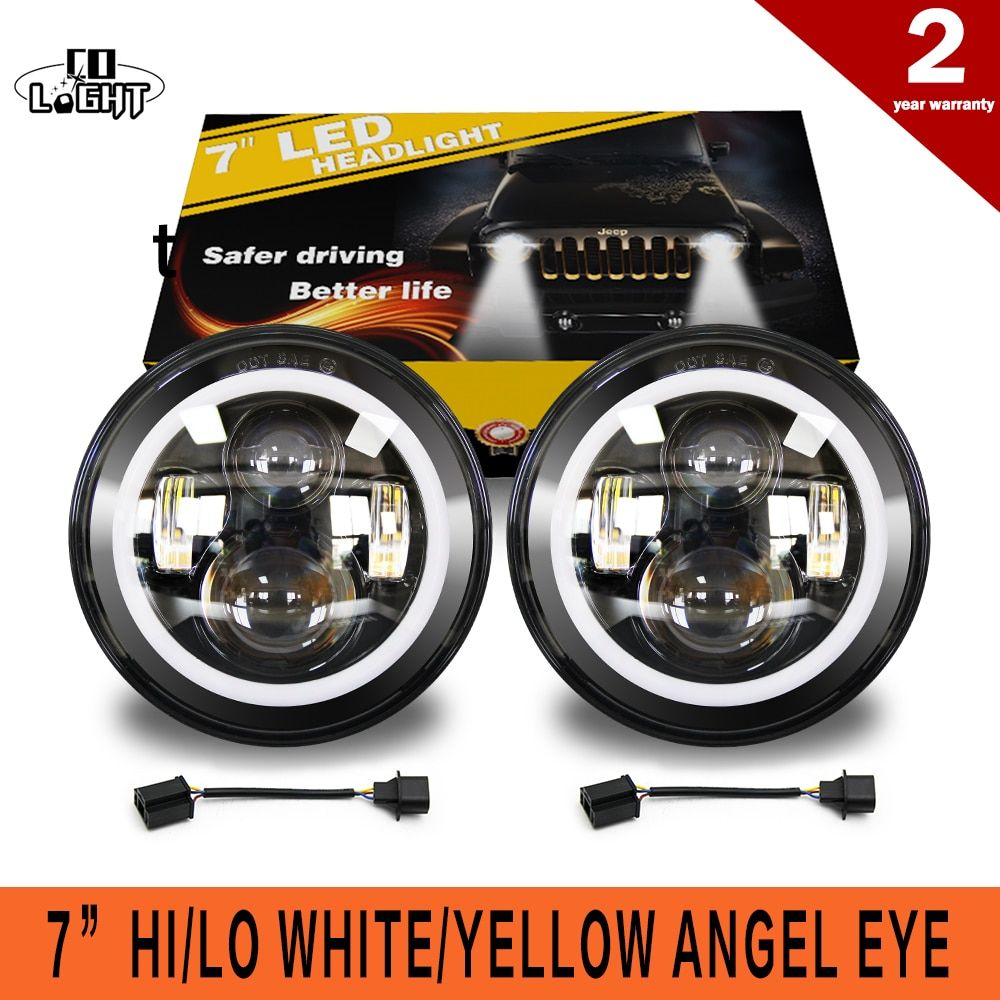 CO LIGHT 50W 30W 7 Inch Round Led Headlight Angel Eye High Low Beam DRL Auto for Offroad Jeep Wrangler Niva Lada 4x4 Uaz 12V 24V