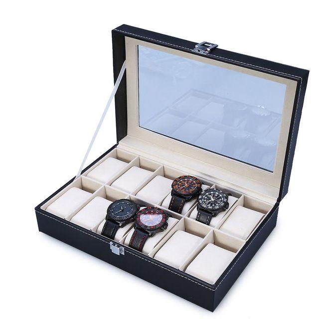 2018 High Quality PU Leather 12 Slots Wrist Watch Display Box Storage Holder Organizer Watch Case Jewelry Dispay Watch Box