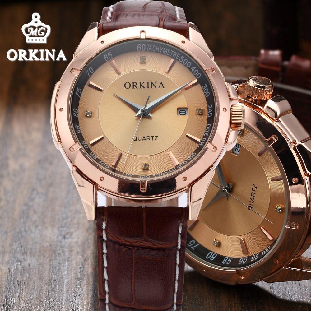 Orkina hombres de lujo de oro rosa cuarzo negocios relojes 2016 hombres de la moda del cuero marrón hombres reloj Relogio vintage Masculino