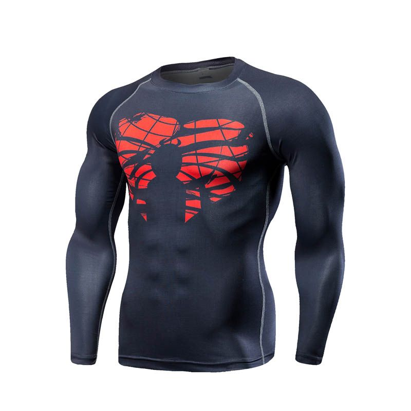 New Style Men Steel Beast Compression Shirt Spiderman Fitness Tights Long sleeves Tops Quick Dry t shirt Fitness Crossfit