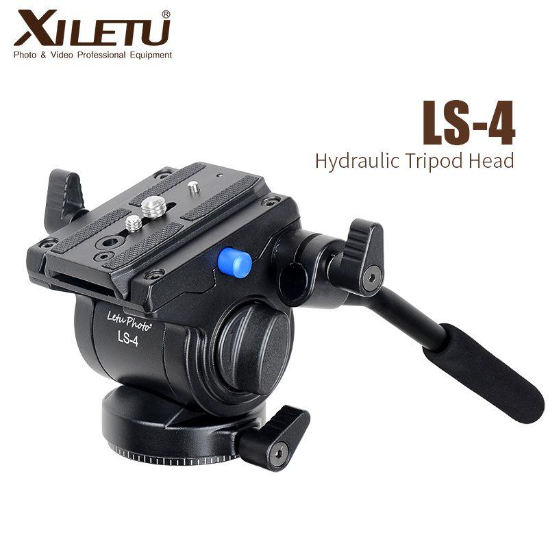 XILETU LS-4 prise en main vidéo photographie fluide glisser tête de trépied hydraulique et plaque de dégagement rapide pour Manfrotto