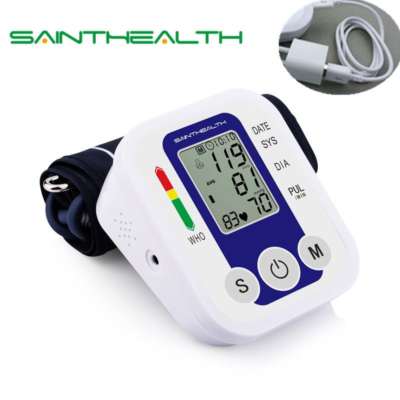 Health Care USB Upper Arm Wrist Automatic Electronic Digital Blood Pressure Monitor Sphygmomanometer Heat Rate Monitor Meter
