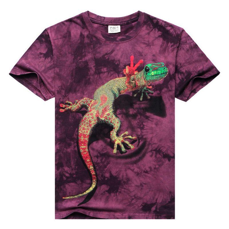 Высокая Качественный хлопок Для мужчин; короткий рукав 3D футболка с круглым вырезом ящерица 3D воды печатных Футболки Повседневное Sprots хип-х...