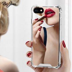 Roc Joan Miroir Cas pour iPhone 6 6 S 7/8/7 plus/6 plus X Anti Choc Dur Acrylique + TPU Couverture Arrière Rose Or Coque