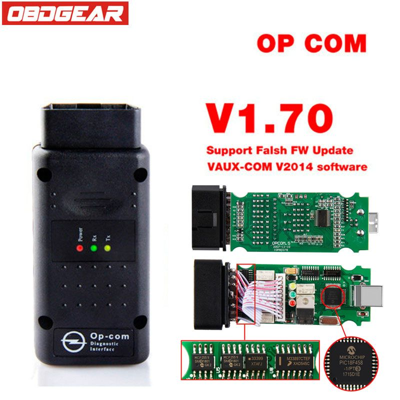 Op com 2018 OBD 2 V1.70 OBD2 Diagnostic-Tool For Opel With Real PIC18f458 OP-COM For Opel Car Diagnostic Scanner Flash Firmware