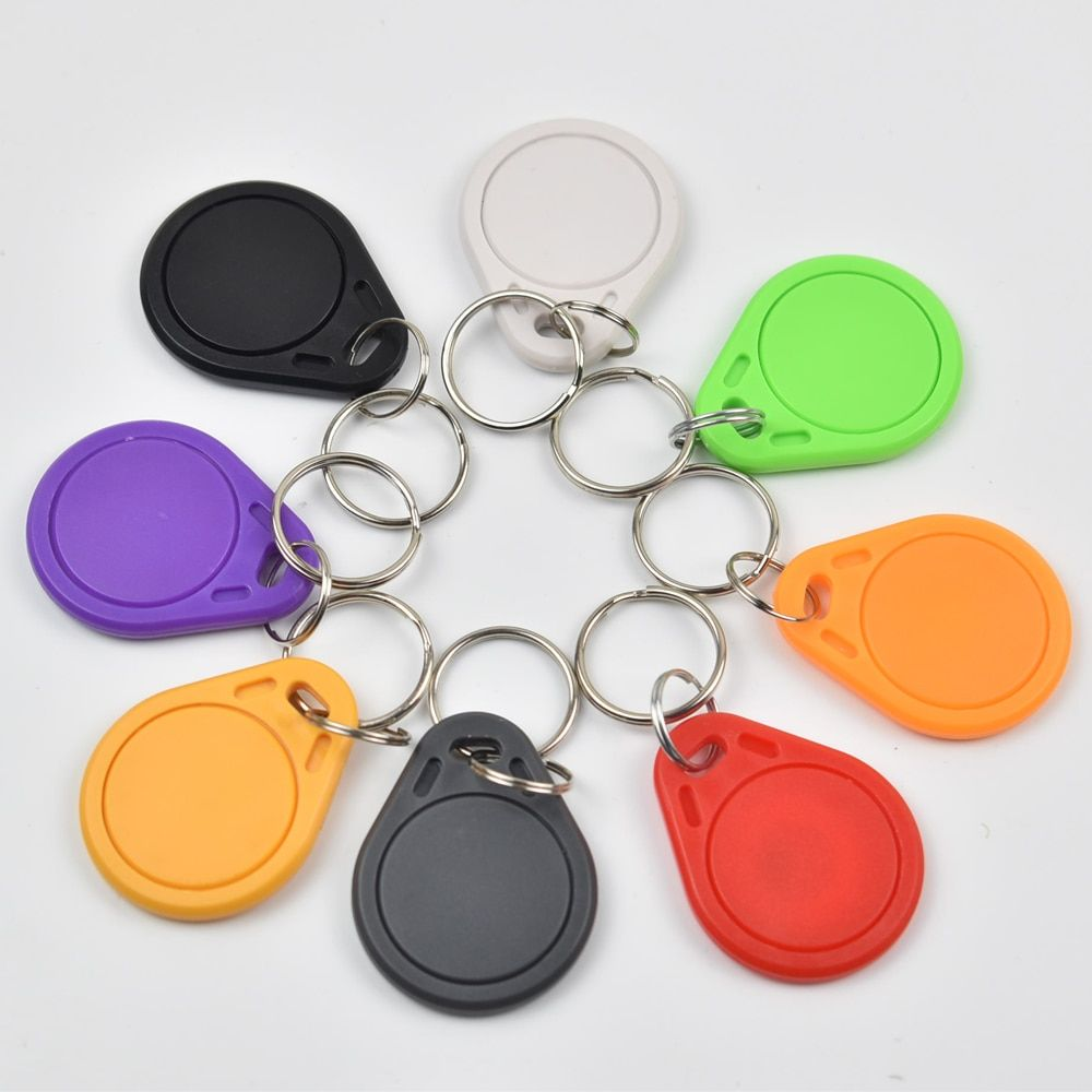 100pcs/lot RFID 13.56 Mhz nfc Tag Token Key Ring IC tags Fudan 1k s50 compatible part of NFC products