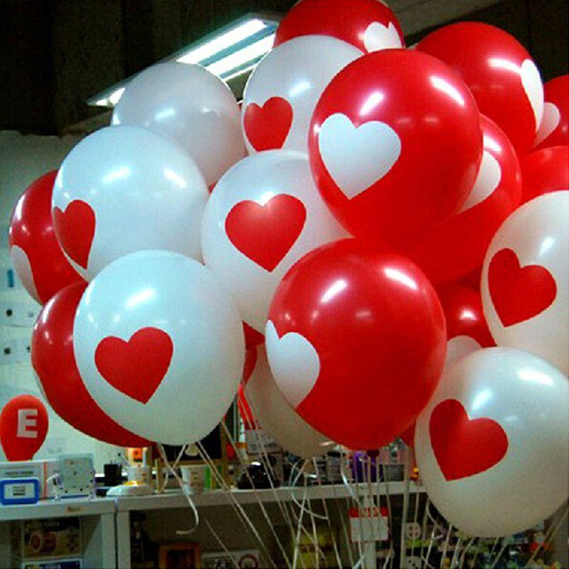 2016 nouveau coeur ballon (50 pièce/lot) 12 pouces rouge et blanc couleur ronde ballons 100% Ballons en latex