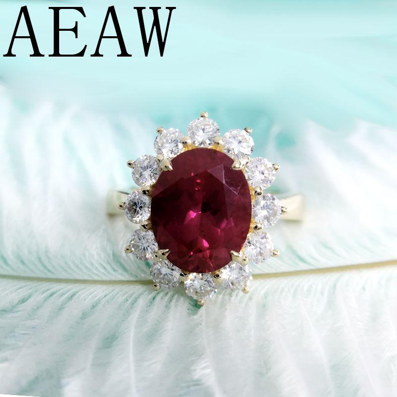 AEAW Echte Frau Engagement Ringe 8x10mm Lab Rubin mit Moissanite Schmuck Solide 14 K Gelb Gold Ring klassische Dame Schmuck