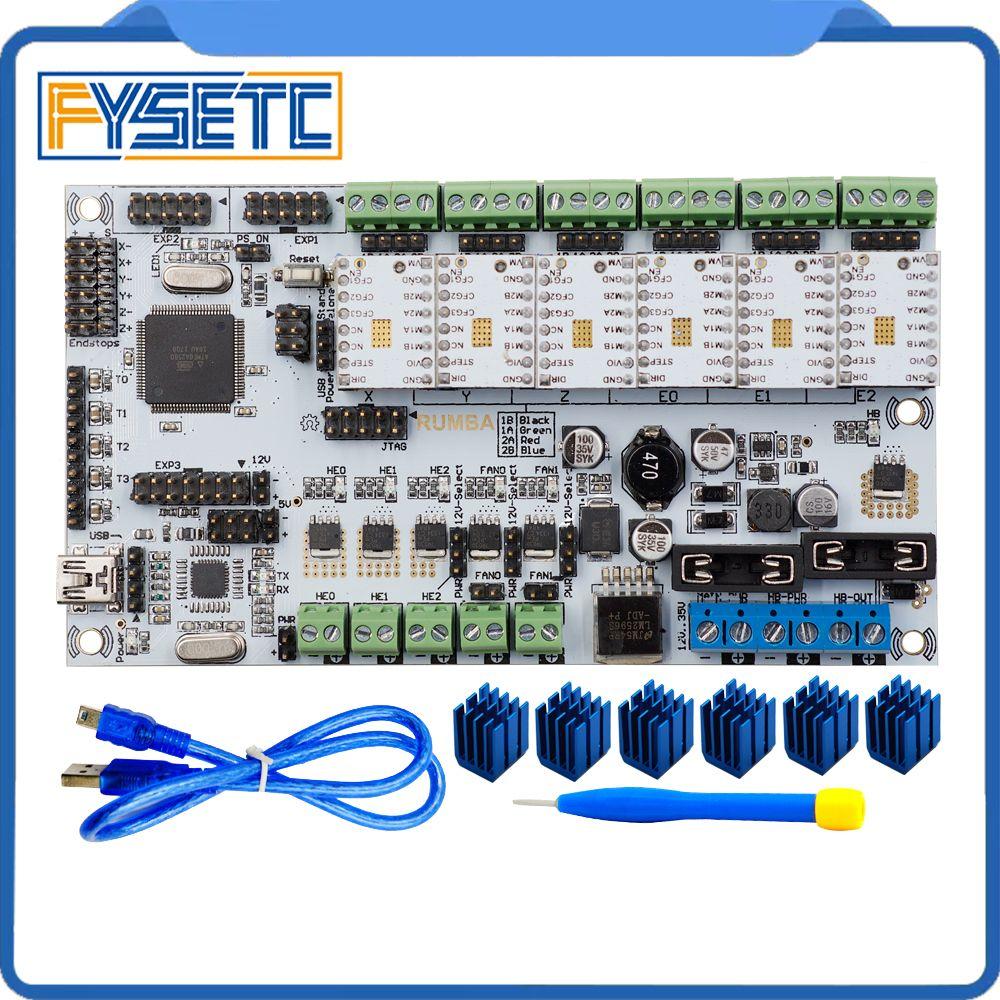 Free Shipping 3D Printer Start Kits Mother Board Rumba Plus Board With 6pcs TMC2100/TMC2208/TMC2130 Stepper Driver 6pcs Heatsink