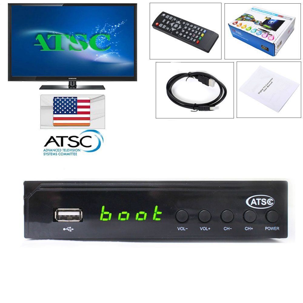 Canada Market Digital Analog Converter Media Player and USB Recording1080P ATSC Terrestrial Broadcast Tv Box Receiver Antenna