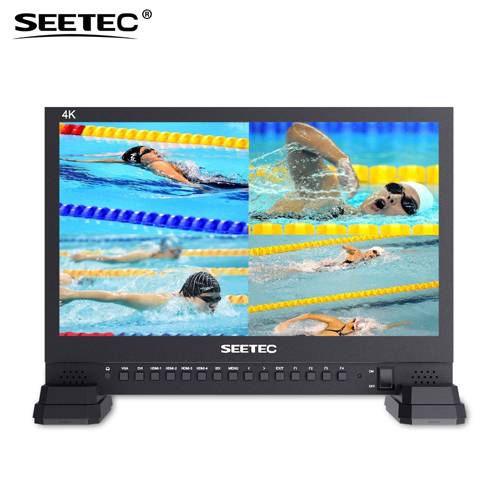 Seetec 4K156-9HSD-384 15.6 Inch IPS UHD 3840x2160 4K Broadcast Monitor with 3G-SDI HDMIx4 Quad Split Display Director Monitor