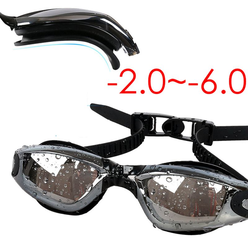 Adult Prescription Optical Myopia -2.0~-6.0 Anti Fog Re-UV Swimming Goggles Women Men Waterproof Electroplate Swimwear Glasses