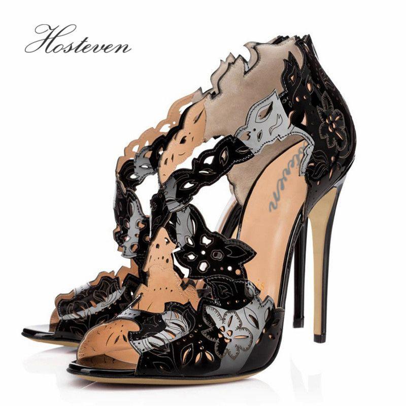Hosteven повседневная женская обувь Офисные Насосы, открытый носок Лакированная кожа тонкий высокий каблук Обувь плюс размеры 34–46