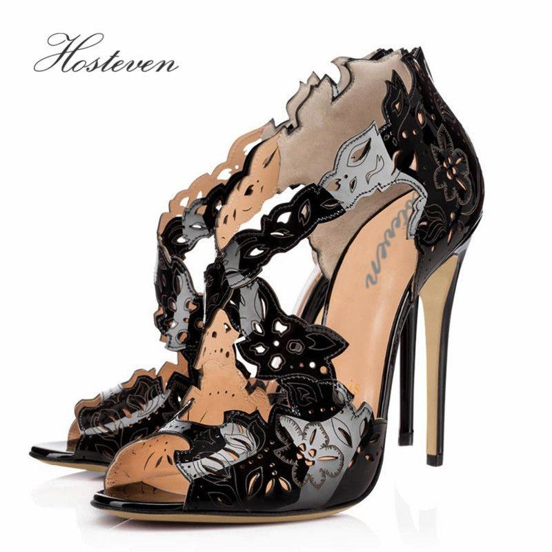 Hosteven Casual Women's Shoes Office Pumps Ladies Solid Peep Toe Patent Leather Thin High Heel Shoes Plus Size 34-46