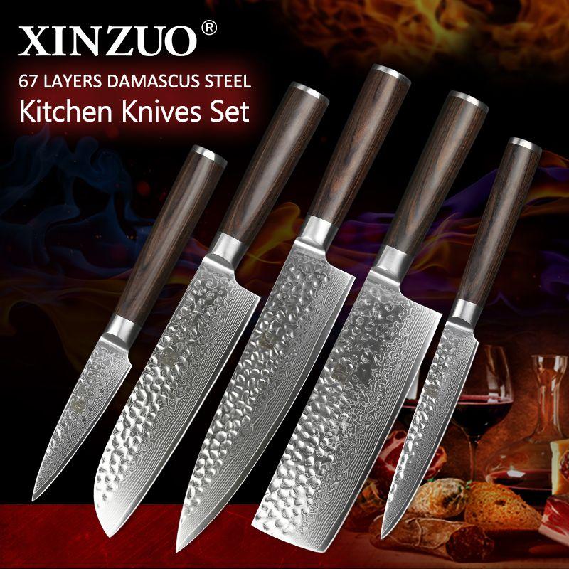 XINZUO 5 Pcs Kitchen Knives Set Japanese Damascus Stainless Steel New designed Knife Cleaver Nakiri Knife with Pakkawood Handle