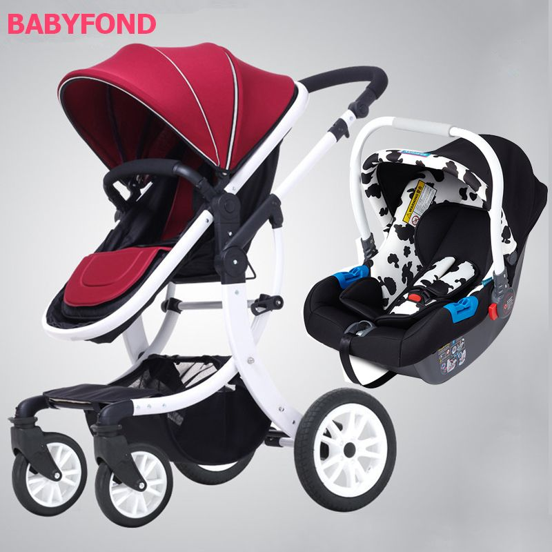 EU design white frame 3 in 1 baby strollers four wheels folding baby carriage gifts AMILE brand baby car travel baby car seat