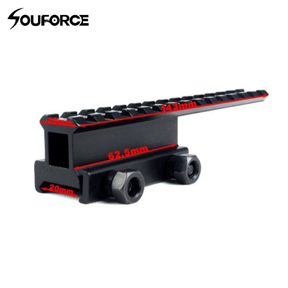 Tactical Extened High Riser Base Flat Top 145MM Length For 20mm picatinny/Weaver Rail Mount 14 Slots Free Shipping