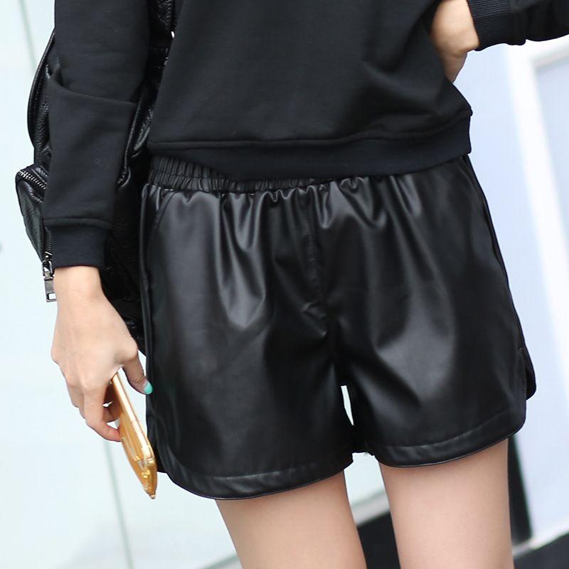 2017 nouveau PU cuir Shorts femmes noir de haute qualité pantalons courts avec poches lâche décontracté court été femmes Short de grande taille