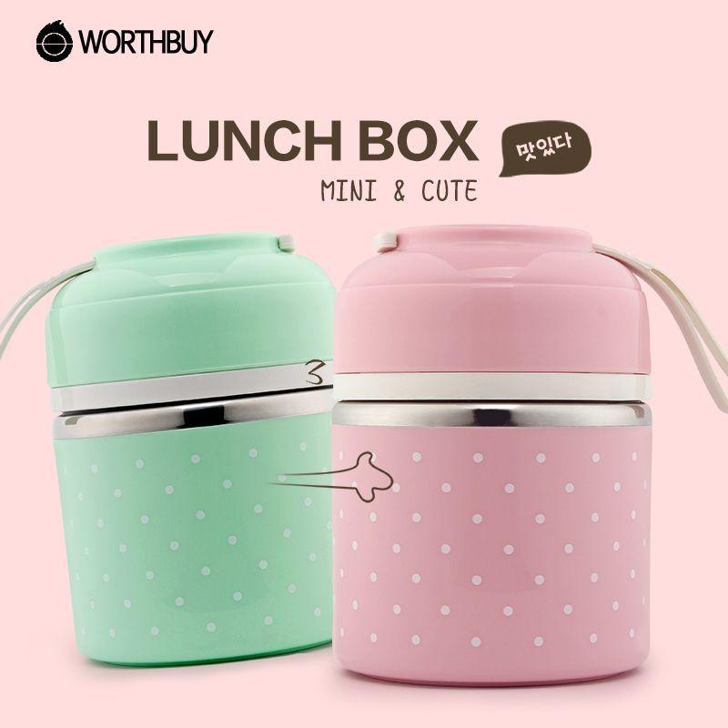 WOTHBUY Portable Mignon Mini Japonais Bento Boîte Étanche En Acier Inoxydable Thermique Déjeuner Boxs Enfants Pique-Nique Alimentaire Conteneur De Stockage