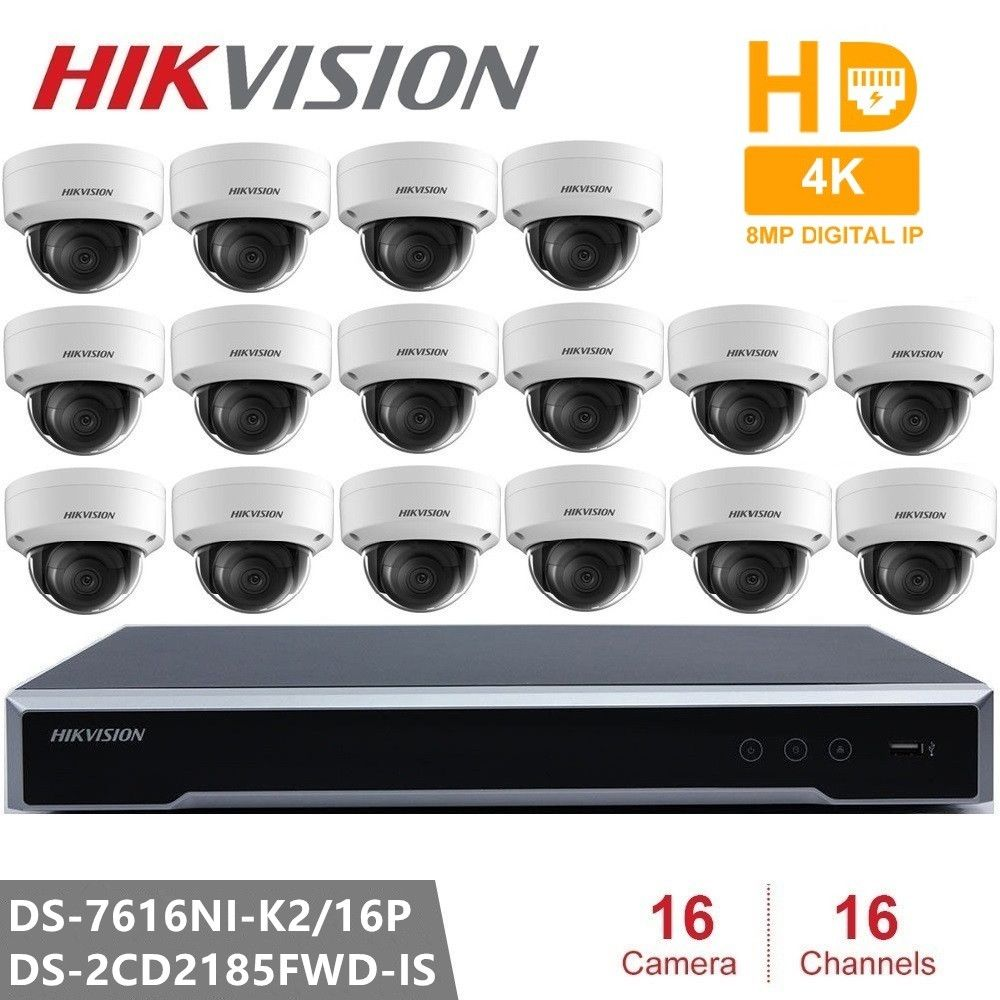 Hikvision Video Überwachung DS-7616NI-K2/16 P Embedded Plug & Play NVR 4K + 16 stücke Hikvision 8MP H.265 IP Kamera DS-2CD2185FWD-IS