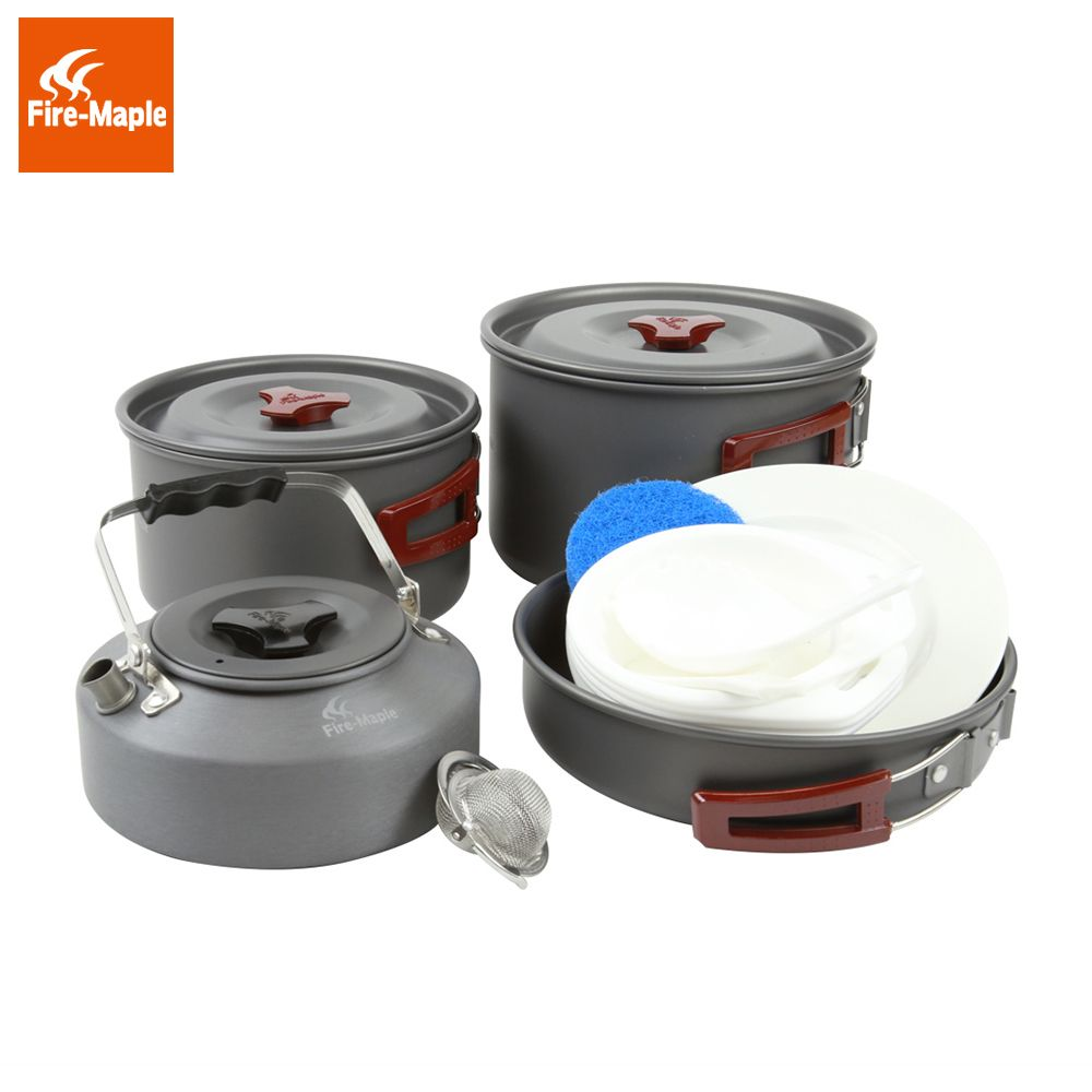 Fire Maple Outdoor Camping Foldable Cooking Cookware Set 1 Fry Pan 2 Pots 1 Kettle Aluminum Alloy for 4-5 Persons FMC-209
