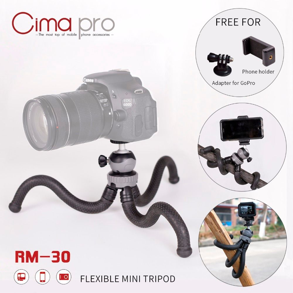 Cima pro RM-30 Travel Outdoor Mini Bracket Stand With Phone <font><b>Clip</b></font> Octopus Tripod For Digital Camera Smartphone GoPro