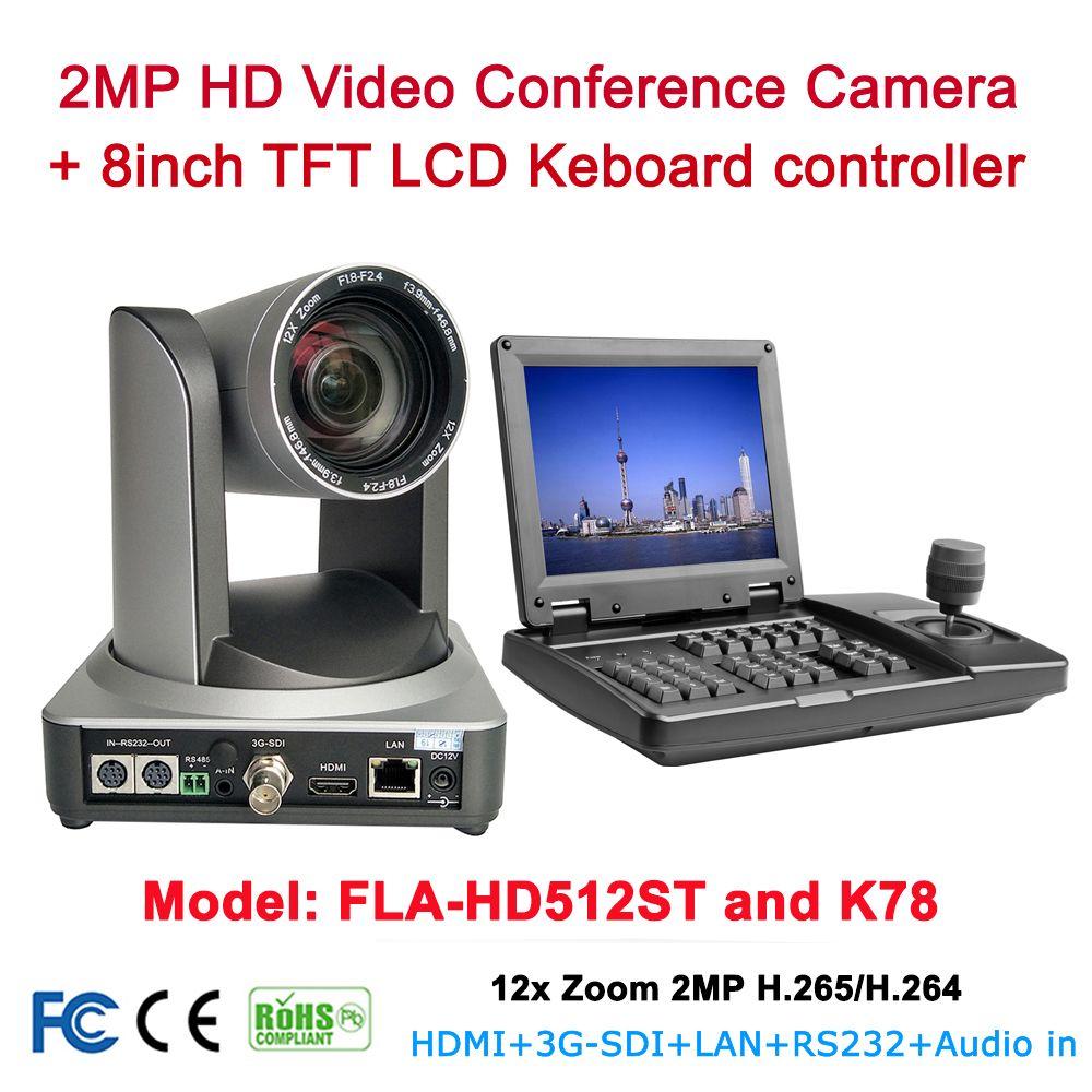 Konferenz ausrüstung kits 12x Optische zoom 1080p60fps HDMI SDI IP ptz kamera Mit 8 zoll TFT LCD rs232 RS485 ptz controller