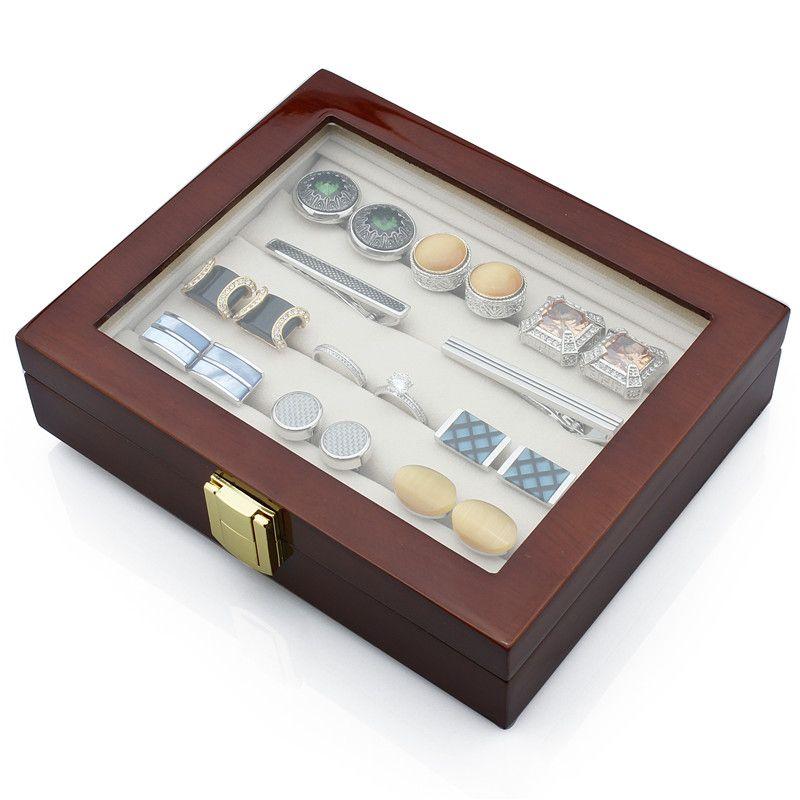 Boutons de manchette de luxe pinces à cravate boîte à bijoux de haute qualité boîte en bois affichage élégant brun foncé mallette de rangement