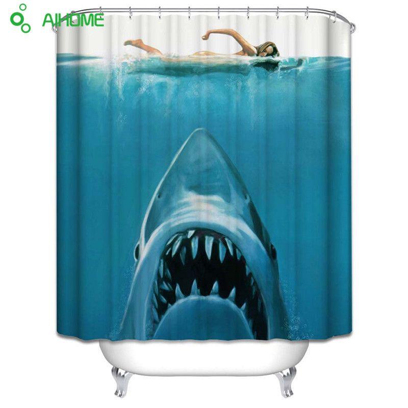 Natation Sexy fille le requin blanc rideau de douche 180x180 cm/150*180 cm imperméable Polyester rideau de douche salle de bain décor