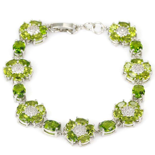 Gorgeous Peridoto Verde, blanco CZ de la mujer Pulsera de Plata 925 7.0-8.0