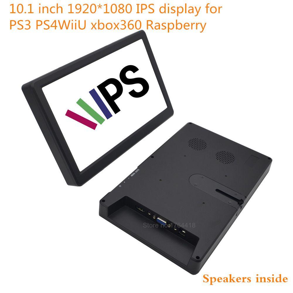 10.1 inch 1920*1080 1080p screen monitor display 16:9 IPS HDMI/VGA for Raspberry pi XBOX PS3 PS4 WiiU game machine with speaker