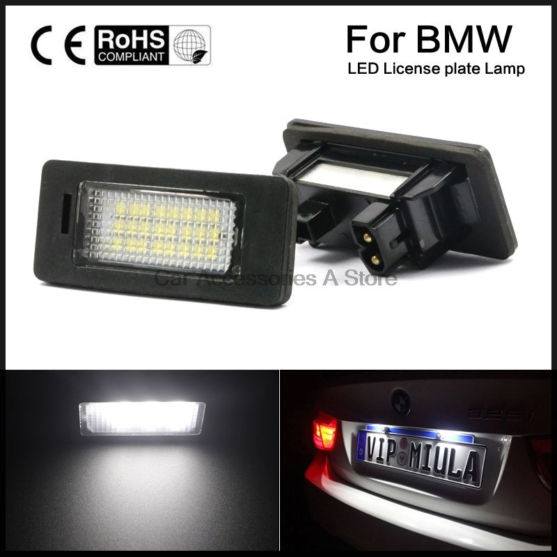 A Pair License Plate Lights Lamps Bulbs 6000K Cool White For BMW E82 E90 E92 E93 M3 E39 E60 E70 X5