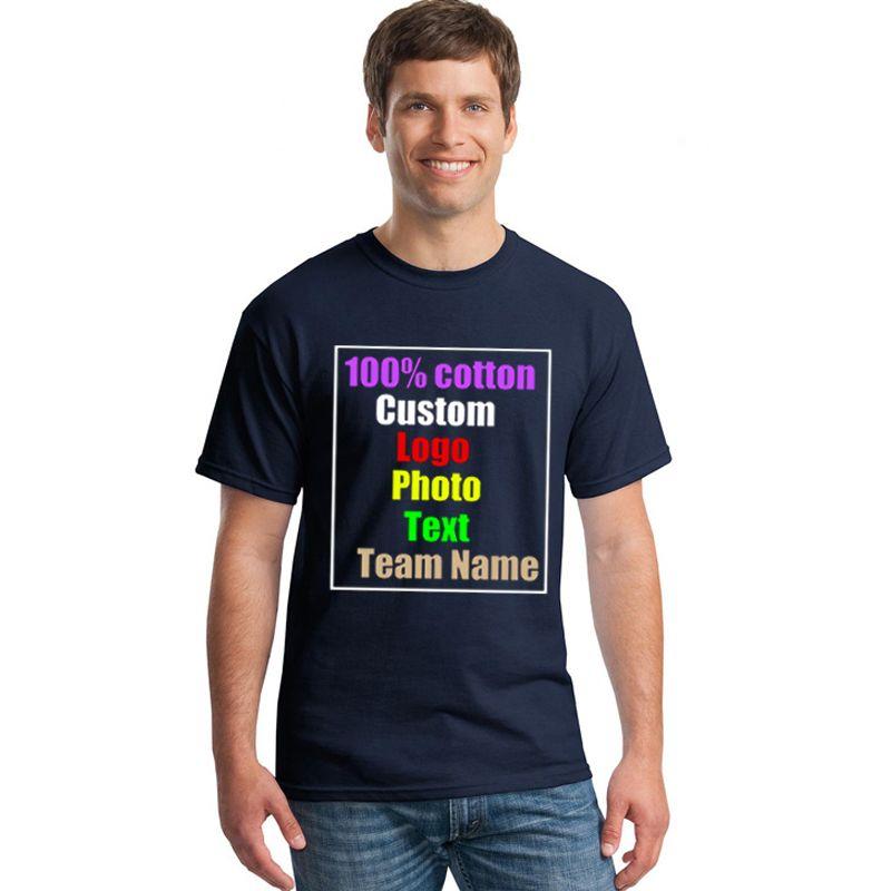 Navy Oversized Men Custom Print Uniform Company Diy Team T-shirt Photo Logo Text Printed T shirt Punk Hip Hop Mens Tees Top