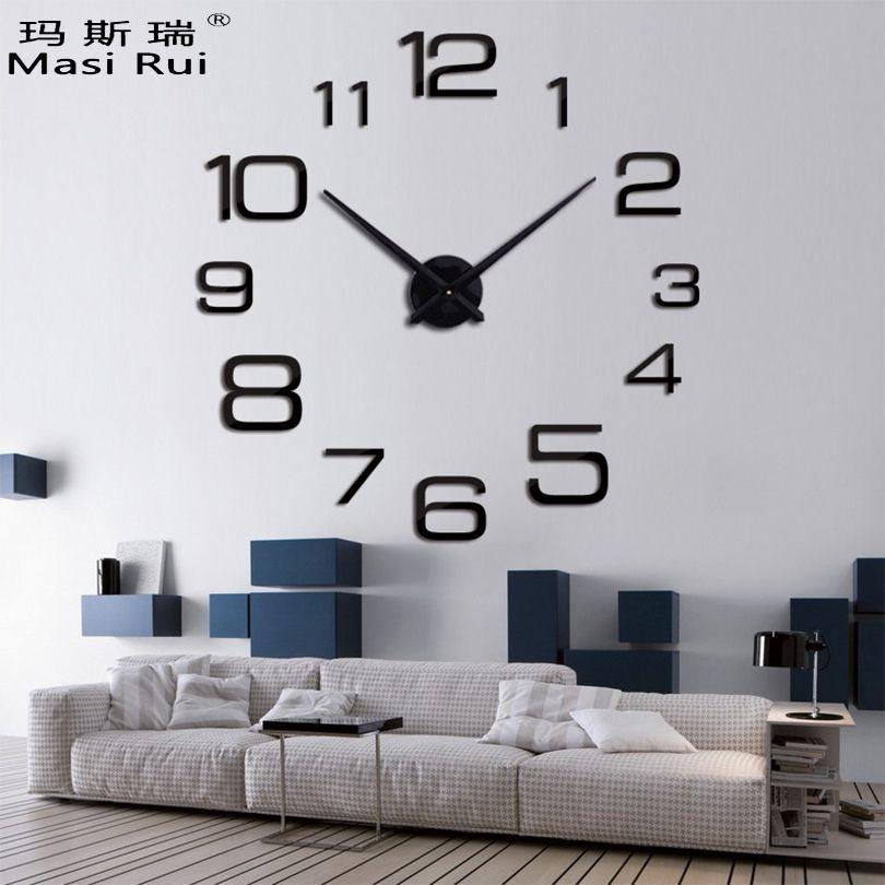 2019 nouvelle marque grande horloge murale décor à la maison acrylique salon Quartz aiguille murale montre bricolage horloges design moderne livraison gratuite