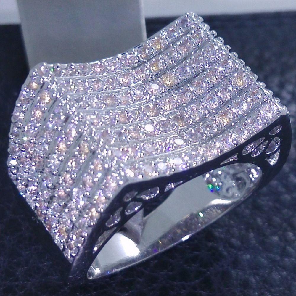 choucong Brand Jewelry 10KT White Gold Filled 156 Pcs Stone 5A Zircon stone <font><b>Band</b></font> Wedding Ring Sz 5-11 Free shipping