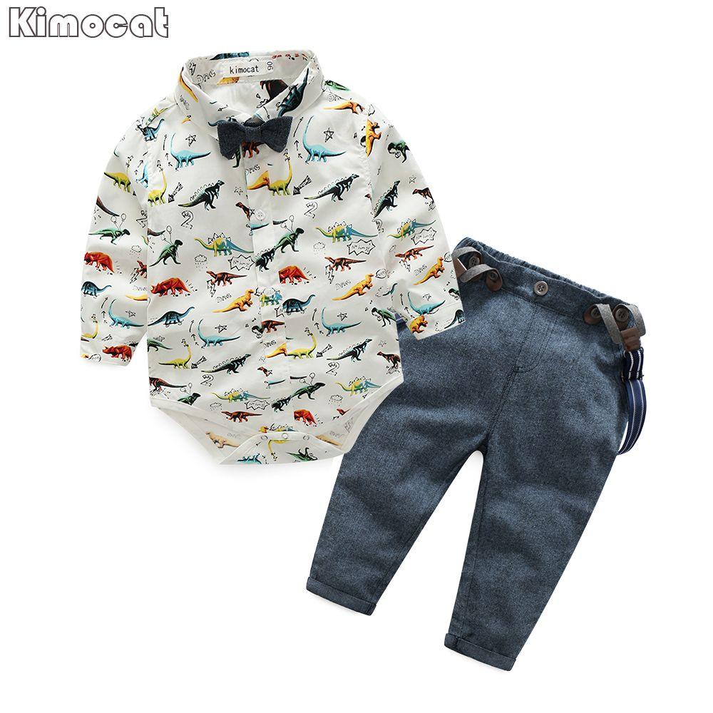 2017 Spring Newborn Baby Clothes Gentleman Baby Boy Dinosaur Garment+Overalls Fashion Baby Boy Clothes